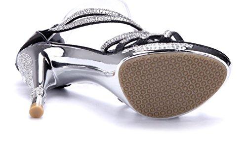 Schuhtempel24 Damen Schuhe Sandaletten Sandalen Stiletto Ziersteine 9 cm Schwarz