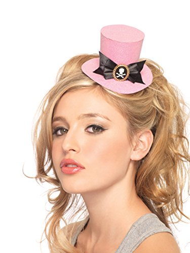 (Leg Avenue Women's Skull Cameo Glitter Clip-on Petite top hat Adult Costume, Pink, One Sizes Fit Most)