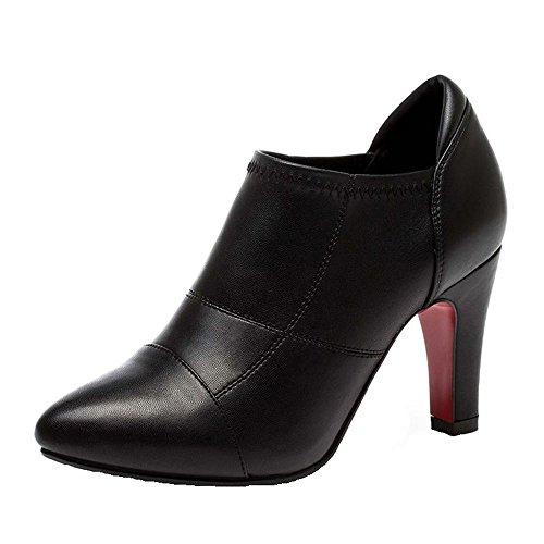 Desklets Women's Breathable Pumps Elegant Leather Fashionable High Heels Shoes(34 M EU/4.5 B(M) US, Black)
