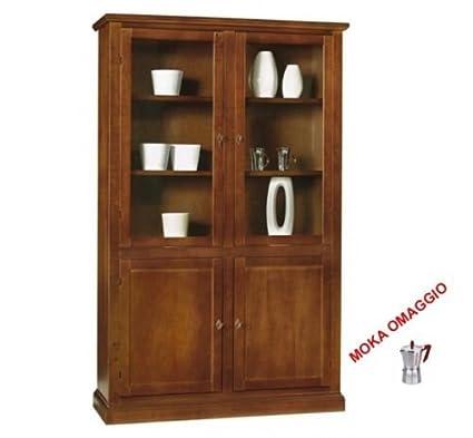 CLASSICO libreria legno con 2 ante vetro 2 ante legno per soggiorno ...