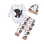 Newborn Baby Boy Clothes Monster Cartoon Letter Rompers Jumpsuit Tops Pants Clothes Summer Short Clothes (12-18 Months, White)