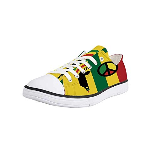 Canvas Sneaker Low Top Shoes,Rasta,Iconic Barret Reggae and Jamaican Music Culture with Peace Symbol and Borders Decorative Women 11/Man 8