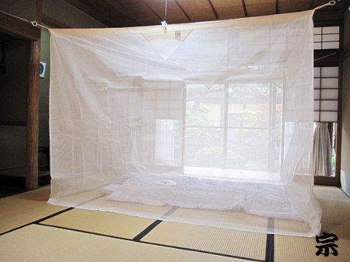 日本製 奈良の特産 国産蚊帳 片麻 6帖用(6畳用) 生成り【吊り手無料サービス】   B0055OAUTW