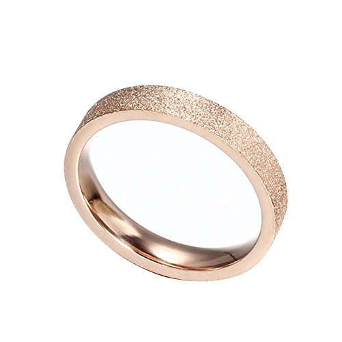Women's Titanium Steel Rose Gold Wedding Band Ring 4mm Width Size 5-10