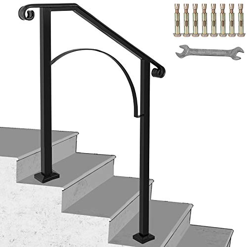 Happybuy Handrail Arch #2 Fits 2 or 3 Steps Matte Black Stair Rail Wrought Iron Handrail with Installation Kit Hand Rails for Outdoor Steps