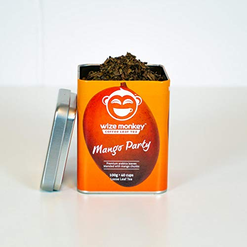 Wize Monkey Coffee Leaf Tea • Mango Party Loose Leaf 100g • 40+ cups • Award-winning premium smooth taste • Clean energy, low caffeine, high antioxidants • Keto, zero carb, vegan, paleo