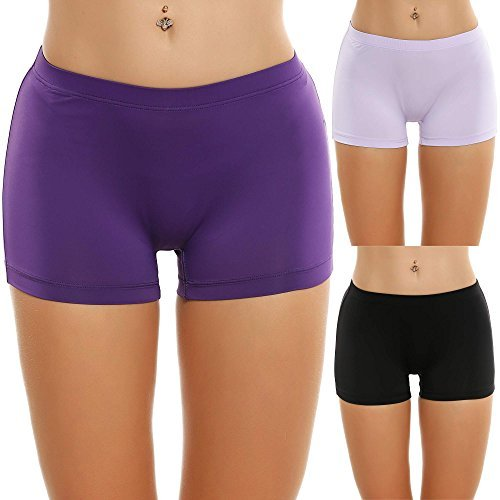 Ekouaer Underwear for Women Comfortable Boy Shorts Pack of 3 (Black/Purple/Light Purple Assorted, Large)