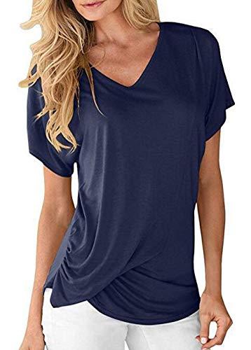 BoBoLily Tshirt Courtes Cou Mode T Femme Haut lgant Casual Shirts Et Navy Uni V Manches Confortable Shirt Style Spcial Plier Blau Manche Branch FFwqdr