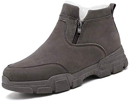 アンクルブーツ本革の男性の雪のブーツプルのためにソリッドカラーサイドジッパーステッチラグソールは暖かいフリース継ぎ合わせをしてください 快適な男性のために設計