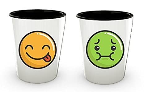 Shot Glasses 21 Or 40th Birthday Set Of 2 Pack 15oz Funny Emoji Unique Gift