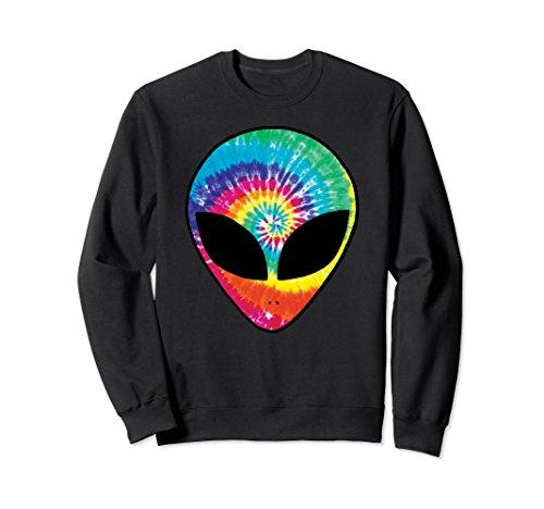 Unisex Rainbow Tie Dye Alien Head Cool Tye Die Crewneck Sweatshirt Small Black ()