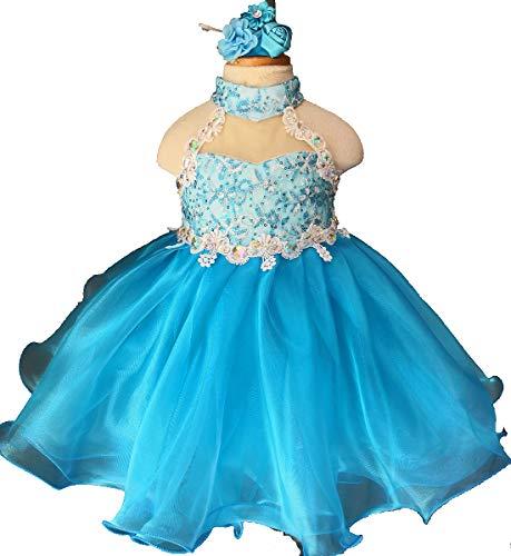 Jenniferwu Infant Toddler Baby Newborn Little Girl's Pageant Party Birthday Dress G035H Blue Size 18-24M