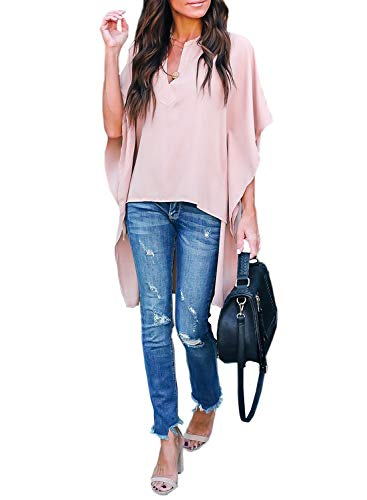 - Asvivid Womens V Neck Half Kimono Ruffle Sleeve Tunics Asymmetrical Hem Loose Office Shirt Blouse L Pink