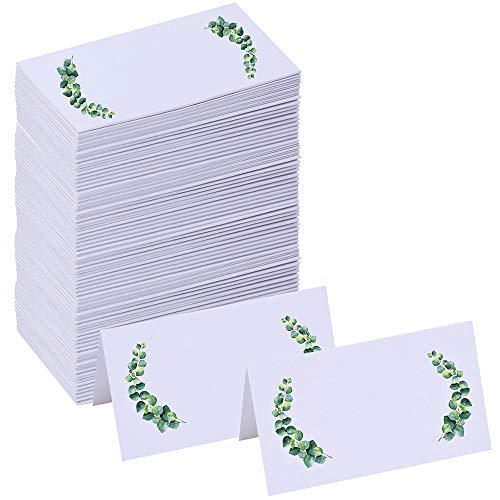 Winlyn 100 Pcs Table Name Place Cards Bulk White Blank Place Cards Floral Greenery Eucalyptus Tented Place Cards Seating Assignment Escort Cards - 3.5