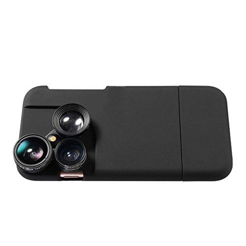MagiDeal 4in1 Ojo de Pez + Gran Angular Len + Kit de Cámara Micro + Carcasa de Teléfono - Negro iphone 7 8 Negro iphone 7 8 plus