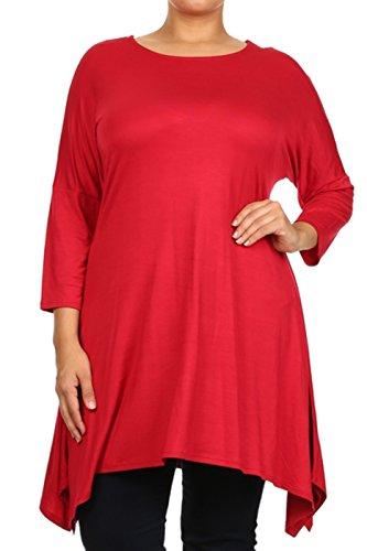 2LUV Plus Women's Dolman Sleeve Asymmetric Knit Tunic Dress – X-Large, Red