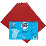 "(5) 12"" x 9.8"" Sheets of Craftables Red Heat Transfer Vinyl HTV - Easy to Weed Tshirt Iron on Vinyl for Silhouette Cameo, Cricut, all Craft Cutters. Ships Flat, Guaranteed Size"