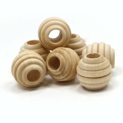Mylittlewoodshop - Pkg of 12 - Bead Round Beehive - 1 inch in diameter with 5/16 hole unfinished wood(WW-BE6090-12) (Bead Metallic Wood)