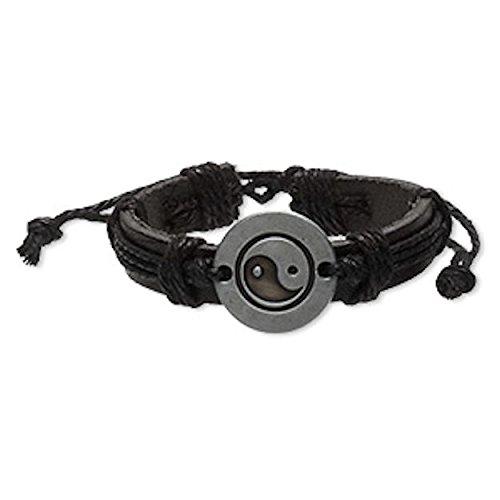 (Pewter Finish Ying Yin Yang Leather Bracelet-Black & Brown Friendship Surfer)
