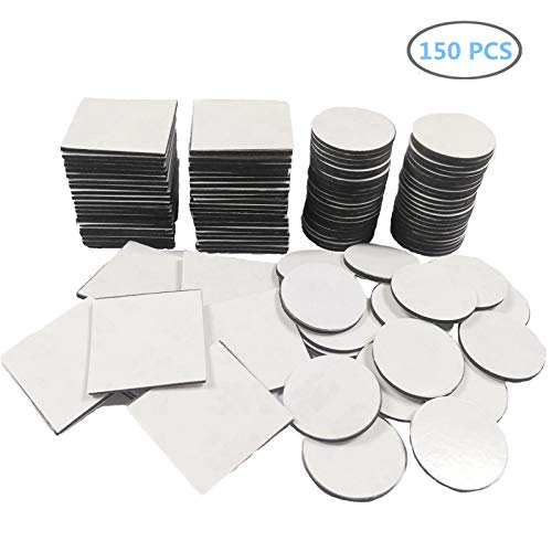 150Pcs Double Sided Foam Pads, Adhesive Mounting Tape Strong Stickers - (Square+Round,Black)