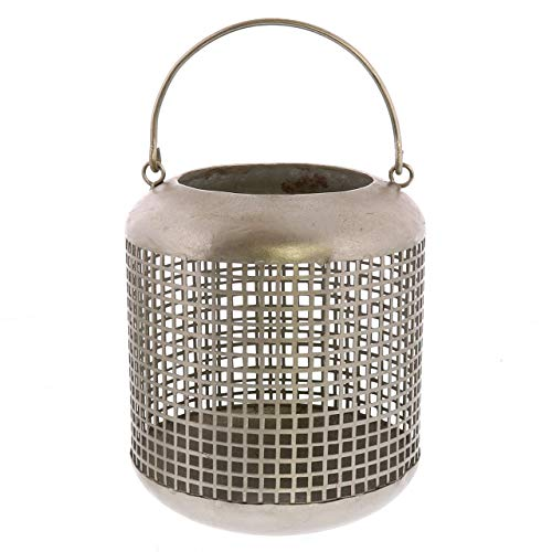 (My Swanky Home Classic Antique Silver Mesh Candle Lantern Set 2| 8