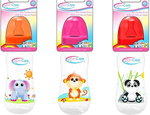 BornCare Wide Neck Easy grip Feeding Bottle with Silicone Ni