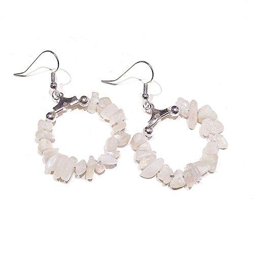 BlackCat White Moonstone Gemstone Chip Hoop Earrings 25mm