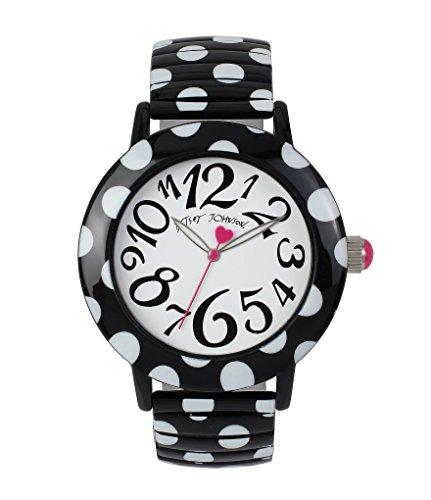 (Betsey Johnson Women's White Dial Polka Dot Black Expandable Bracelet Watch BJ00567-02)