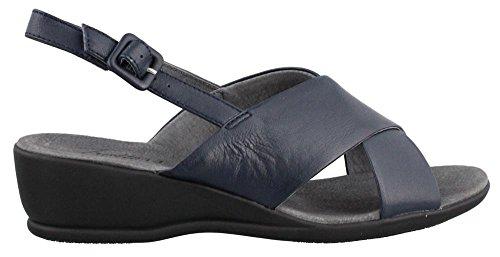 Trotters Women's Lee Navy Burnished Soft Kid Leather Sandal 7 M (B) - Burnished Kid Footwear