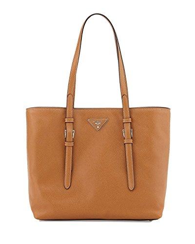Prada Women's Saffiano Soft Leather Hand Bag 1BG133 Caramel