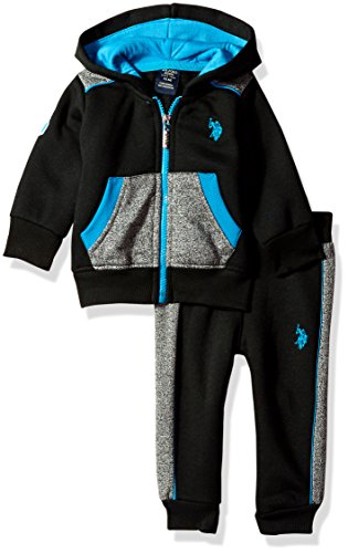 U.S. Polo Assn. Baby Boys' 2 Piece Fleece Jog Set, 0719-Turquoise, 24M