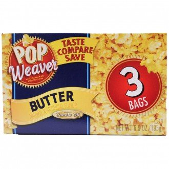 Price comparison product image Pop Weaver Butter Flavor Microwave Popcorn, Net Wt. 6.50oz (184g)