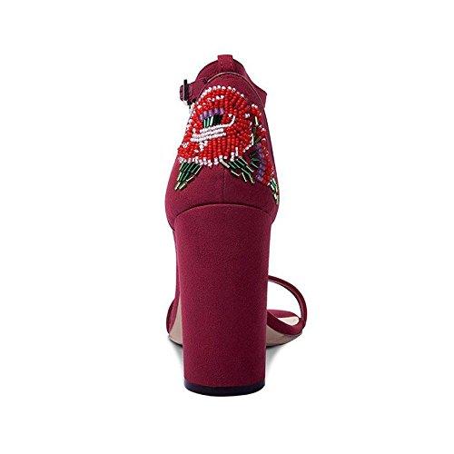 JIANXIN Damen Sommer Chunky Sandalen Mit High Heels Heels Heels Mode Leder Perlen Sandalen. (Farbe   rot größe   EU 36 US 5.5 UK 3.5 JP 23cm) b0928f