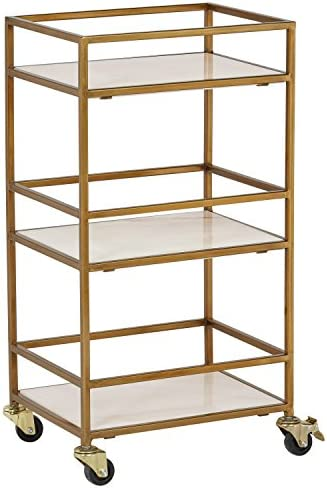 Rivet Modern Metal Kitchen Rolling Bar Cart with Wheels, 30 Inch Height, Gold