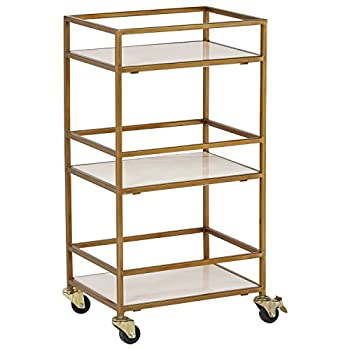 Image of Home and Kitchen Rivet Modern Metal Kitchen Rolling Bar Cart with Wheels, 30' Inch Height, Gold