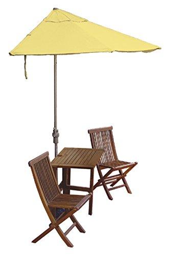 (Blue Star Group Terrace Mates Villa Standard Table Set w/ 9'-Wide OFF-THE-WALL BRELLA - Yellow Olefin Canopy)