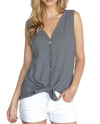 Thermal Knit Top - PCEAIIH Womens Loose Henley Blouse Sleeveless Button Down T Shirts Tie Front Knot Tops S-Dark Gray