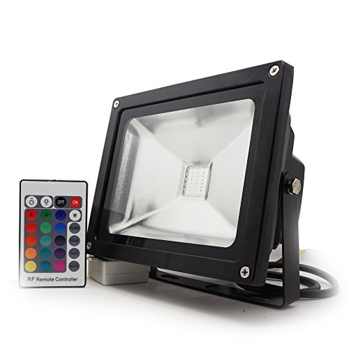 (20 Watt) Commercial Colored RGB LED Flood Light - 16 Colors - Dimming - Remote - Waterproof - 4 Lighting Modes