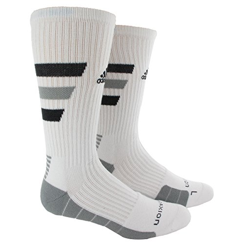 adidas Team Speed Traxion Crew Socks, White/Black/Aluminum 2, Large (Adidas Football Socks compare prices)