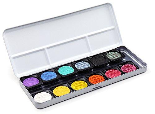 Finetec Artist Mica Warercolor Pearlescent Paint 12-Color Set (F1200)]()