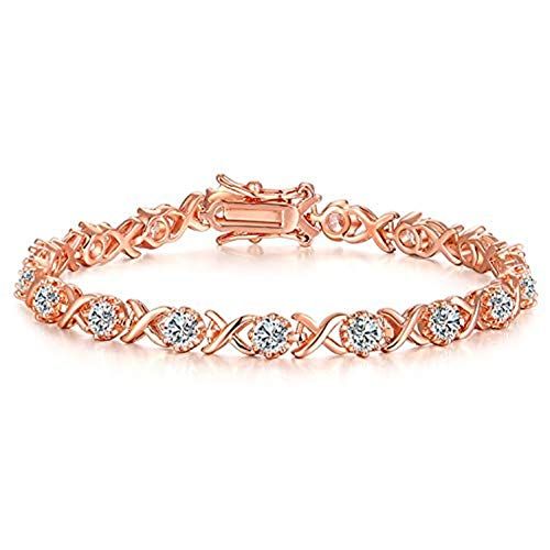 Vibrille Rose Gold Plated Sterling Silver Infinity XO Cubic Zirconia Tennis Bracelet for Women