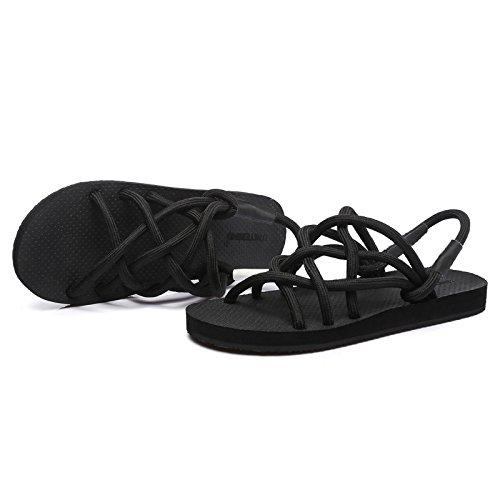 XING Black Respirant GUANG Strap 39 Mesh Toe Couples Sandales Pantoufles Dérapant 37 Black Anti Sandales Accueil zzn7WrqH