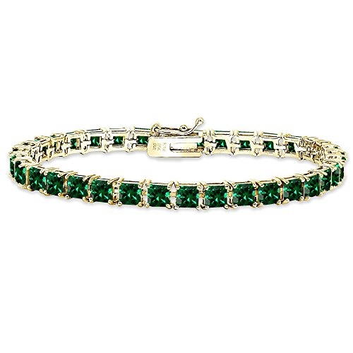 Yellow Gold Flashed Sterling Silver Simulated Emerald 4mm Princess-Cut Square Classic Tennis Bracelet
