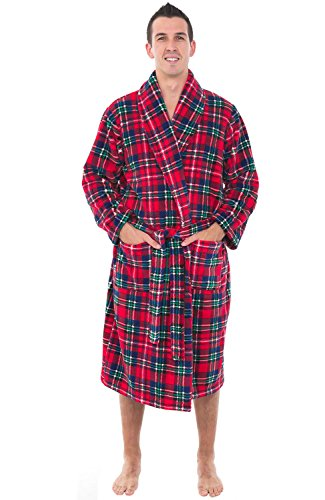 (Alexander Del Rosas Mens Plush Warm Fleece Robe, Large XL Blue Red and Green Christmas Plaid (A0114Q19XL))