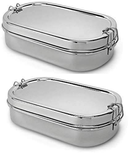 Lifestyle Block Stainless Steel Oval Lunch Box with Inner Snack Box 2 Pack