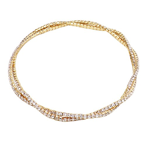 - Rosemarie Collections Women's Double Strand Crystal Ankle Bracelet (Gold)