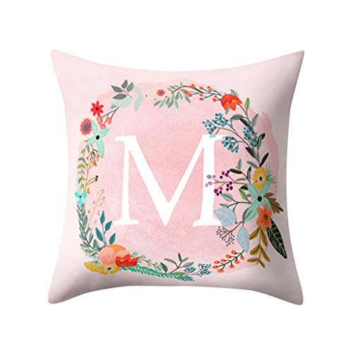 Littay Throw-Pillow-Covers, English Alphabet Pillow Print Cushion Flower Pillowcase Cover Room Decoration