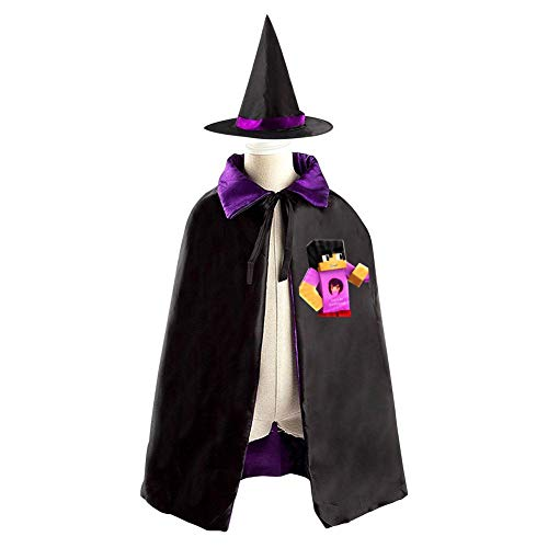 DIY Ap-hmau Girlfriend Costumes 3D Printed Party Dress Up Cape Reversible with Wizard Witch Hat