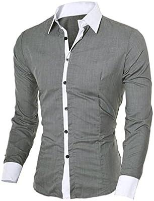 Camisas Hombre,Camisa de Hombre de Negocios Camisa de Manga Larga Casual para Hombre Camisa de Vestir Slim fit Camisa de Vaquero Blusa Tops Outwear (M, Gris): Amazon.es: Deportes y aire libre