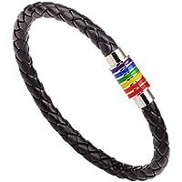 Pulsera Pride de PU Cuero Trenzado con Arcoiris Accesorios LGBT (2 Piezas) (Silver)